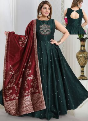Awesome Green Handwork Art Silk Readymade Suit