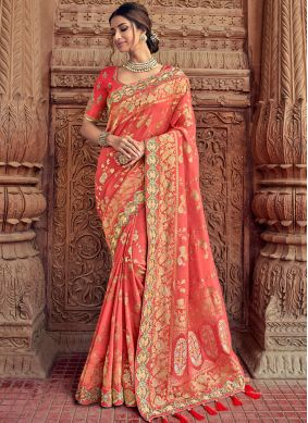 Awesome Silk Peach Embroidered Classic Saree