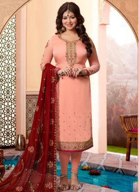 Ayesha Takia Georgette Satin Embroidered Churidar Designer Suit