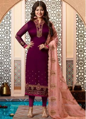 Ayesha Takia Georgette Satin Wedding Churidar Designer Suit