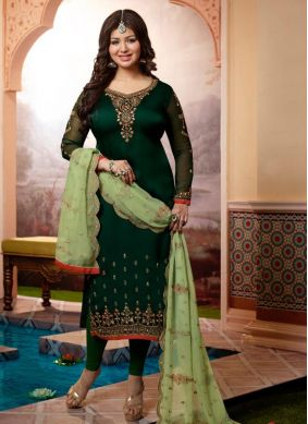 Ayesha Takia Green Ceremonial Churidar Designer Suit