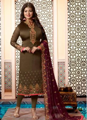 Ayesha Takia Green Georgette Satin Embroidered Churidar Designer Suit
