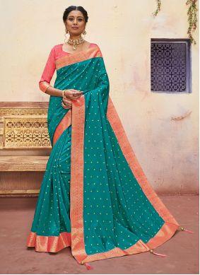 Banarasi Silk Aqua Blue Designer Saree