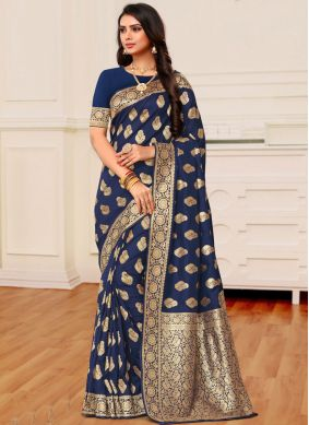 Banarasi Silk Blue Weaving Classic Designer Saree