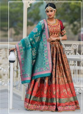 Brown Banarasi Silk Ceremonial A Line Lehenga Choli