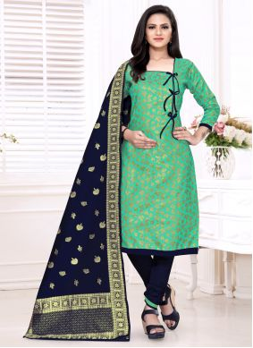 Sea Green Banarasi Silk Churidar Suit