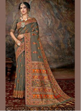 Banarasi Silk Digital Print Multi Colour Designer Saree