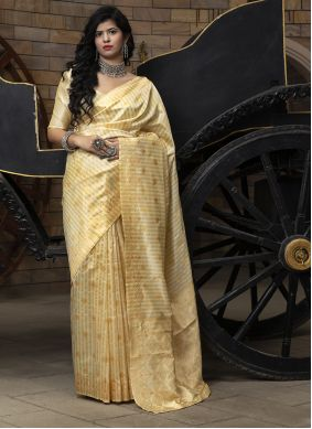 Cream Banarasi Silk Engagement Saree