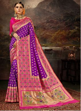 Purple Banarasi Silk Engagement Saree