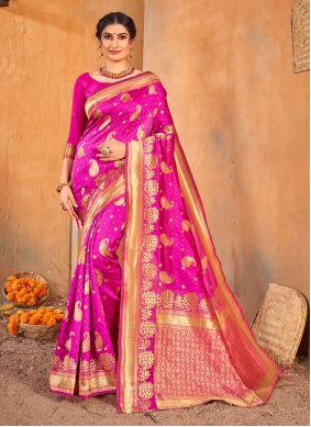 Banarasi Silk Fuchsia Classic Saree