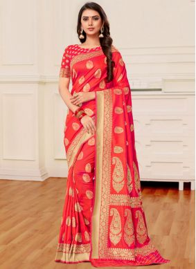Banarasi Silk Orange and Peach Weaving Half N Half Designer Saree