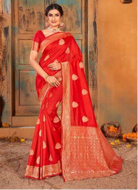 Red Banarasi Silk Party Classic Saree