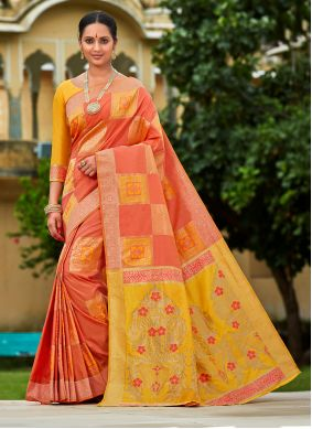 Banarasi Silk Peach Designer Traditional Saree