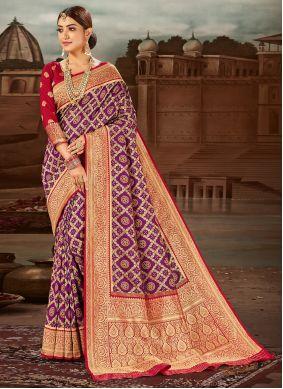 Banarasi Silk Purple Traditional Designer Saree