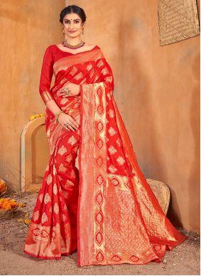 Banarasi Silk Red Classic Saree