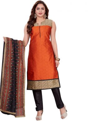 Banarasi Silk Red Print Churidar Salwar Suit