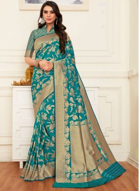 Banarasi Silk Teal Weaving Silk Saree