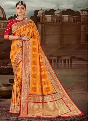 Banarasi Silk Traditional Designer Saree in Yellow