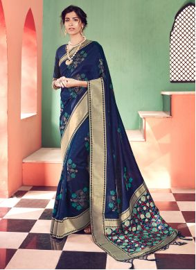 Banarasi Silk Traditional Saree in Navy Blue
