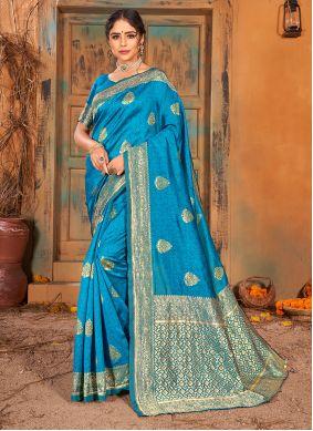 Banarasi Silk Weaving Aqua Blue Classic Saree