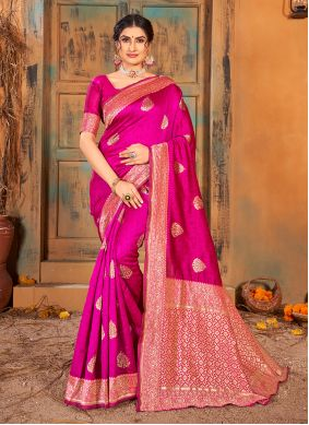 Magenta Banarasi Silk Weaving Classic Saree