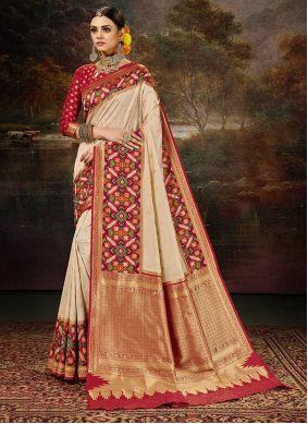 Banarasi Silk Weaving Work Cream Saree