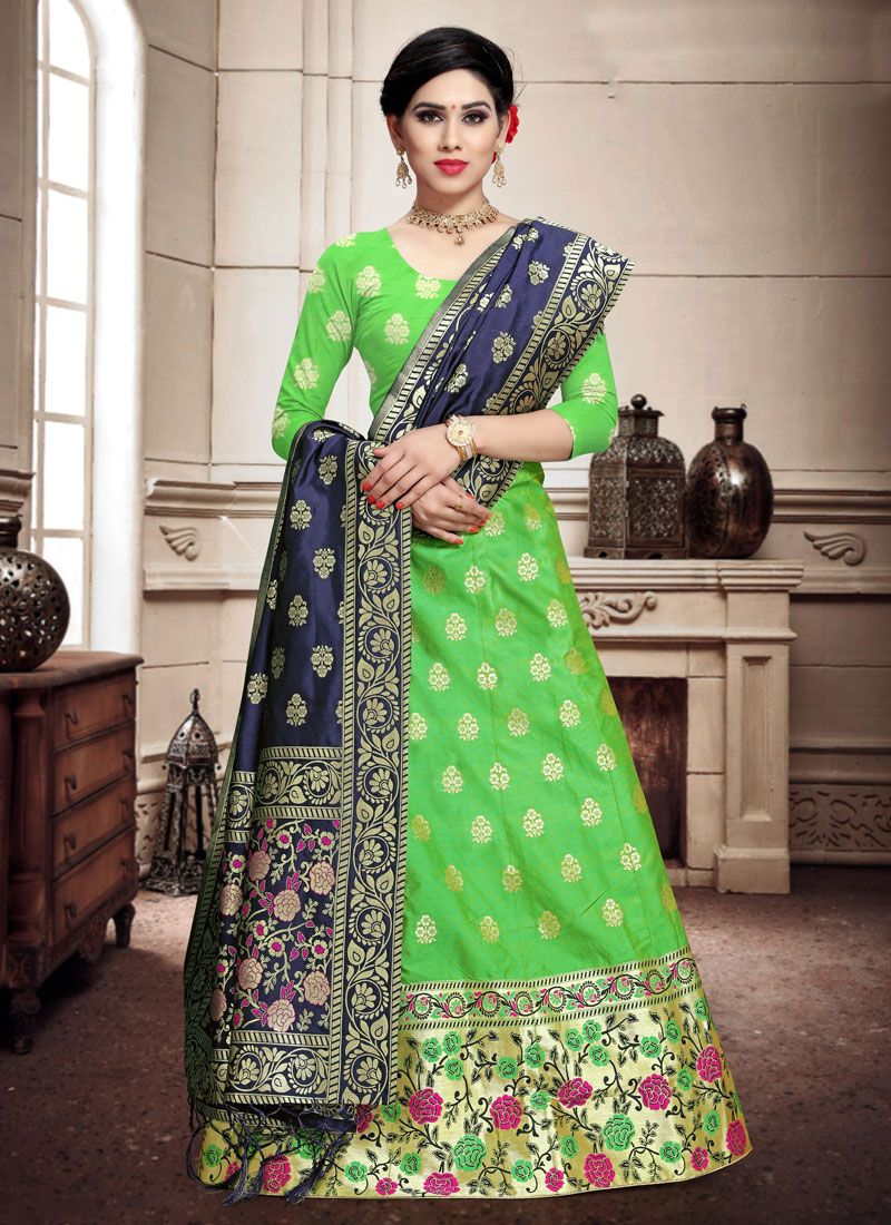 Banarasi Silk Weaving Green A Line Lehenga Choli