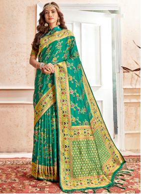 Banarasi Silk Weaving Green Traditional Saree