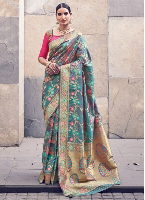 Banarasi Silk Weaving Grey Trendy Saree