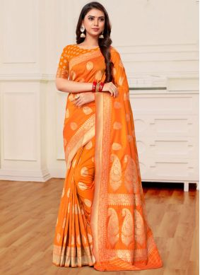 Banarasi Silk Weaving Half N Half Trendy Saree in Mustard and Orange