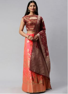 Banarasi Silk Weaving Maroon and Peach Lehenga Choli