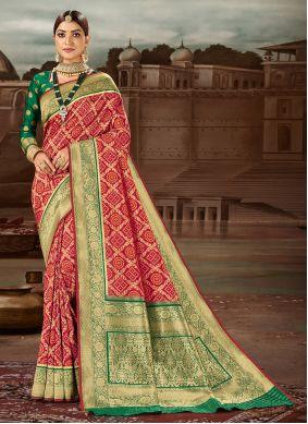 Banarasi Silk Weaving Maroon Traditional Designer Saree