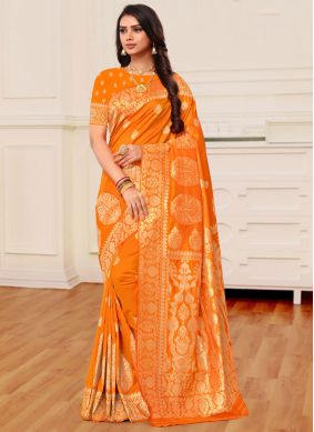 Banarasi Silk Weaving Mustard and Orange Half N Half Trendy Saree