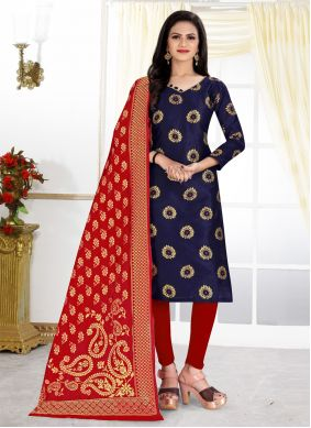 Banarasi Silk Weaving Navy Blue Churidar Designer Suit