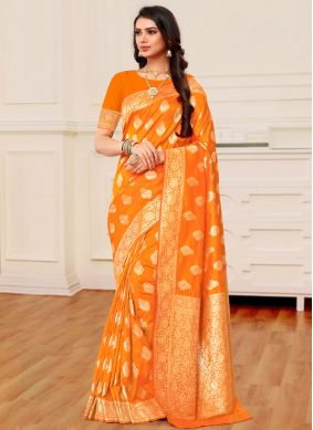 Banarasi Silk Weaving Orange Silk Saree