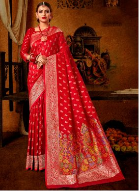 Banarasi Silk Weaving Red Traditional Designer Saree