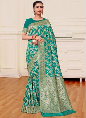 Banarasi Silk Weaving Sea Green Classic Saree