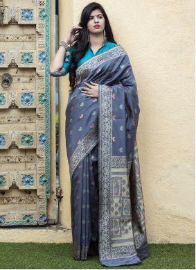 Banarasi Silk Weaving Work Grey Saree