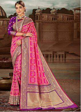 Banarasi Silk Weaving Traditional Designer Saree in Hot Pink