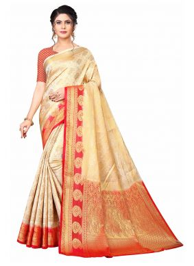Banarasi Silk Weaving Traditional Saree in Beige and Red