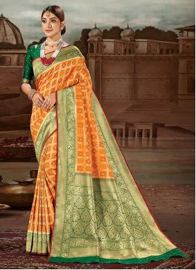 Banarasi Silk Yellow Traditional Designer Saree
