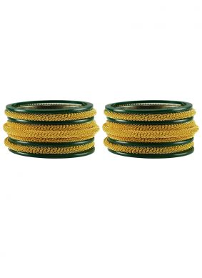 Bangles Stone Work in Gold and Green