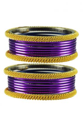Bangles Stone Work in Gold and Purple