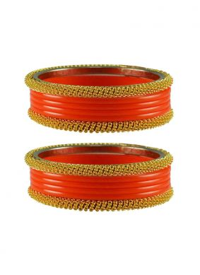 Bangles Stone Work in Orange