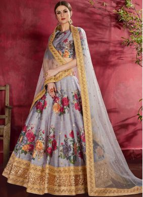 Banglori Silk A Line Lehenga Choli in Grey