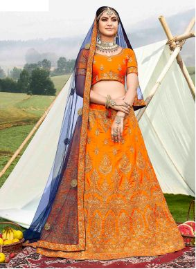 Banglori Silk Designer Lehenga Choli in Orange