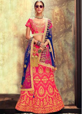 Banglori Silk Embroidered Lehenga Choli in Rose Pink