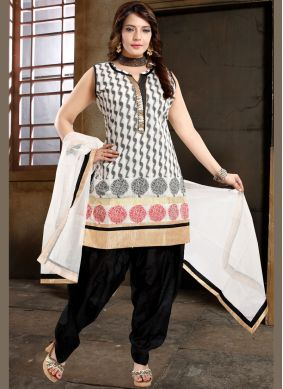 Banglori Silk Fancy Black and White Designer Patiala Suit