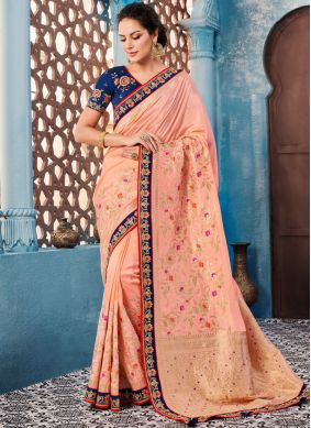 Banglori Silk Peach Trendy Saree