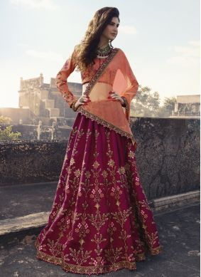 Baronial Art Silk Maroon Embroidered Trendy Lehenga Choli
